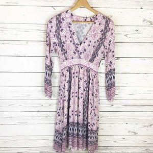 En Creme Long Sleeve Peasant Dress Purple XS